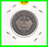 ALEMANIA - GERMANY  MONEDA DE 2.00 DM - AÑO 1991 -F  KURT SCHUMACHER - S/C - [ 7] 1949-… : RFA - Rep. Fed. Alemana