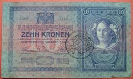FIUME - RIJEKA 10 KRONEN ND 1918 (OLD DATE 1944), ITALY, CROATIA, AUSTRIA, HUNGARY, SEAL ON OBVERSE, ORIGINAL SEAL, RARE - Unclassified