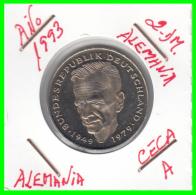 ALEMANIA - GERMANY  MONEDA DE 2.00 DM - AÑO 1993 -A  KURT SCHUMACHER S/C - [ 7] 1949-… : RFA - Rep. Fed. Alemana