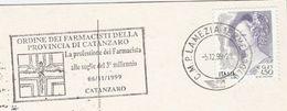 1999  ITALY COVER SLOGAN Illus PHARMACY CANTAZARO  (postcard Lions International Club) Health Medicine Stamps - Pharmacy