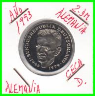 ALEMANIA - GERMANY  MONEDA DE 2.00 DM - AÑO 1993 -D  KURT SCHUMACHER  - S/C - [ 7] 1949-… : RFA - Rep. Fed. Alemana