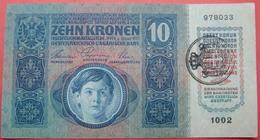 FIUME - RIJEKA 10 KRONEN ND 1918 (OLD DATE 1915), ITALY, CROATIA, AUSTRIA, HUNGARY, SEAL ON OBVERSE, ORIGINAL SEAL, RARE - Unclassified