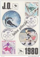 Carte Maximum   1er  Jour   MONACO    Paire   Jeux  Olympiques    LAKE  PLACID   1980 - Winter 1980: Lake Placid