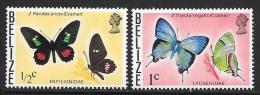 Belize, Scott # 345-6 MNH Butterflies, 1974 - Belize (1973-...)