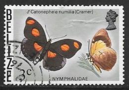 Belize, Scott # 348 Used Butterflies, 1974, Crease - Belize (1973-...)