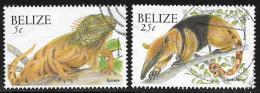 Belize, Scott # 1119,1122 Used Iguana, Ant Bear, 2000 - Belize (1973-...)