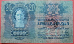 FIUME - RIJEKA 20 KRONEN ND 1918 (OLD DATE 1913), ITALY, CROATIA, AUSTRIA, HUNGARY, SEAL ON OBVERSE, ORIGINAL SEAL, RARE - Unclassified