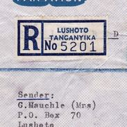 Lettre Recommandée Tanzanie Tanzania Lushoto 1969 Knonau Suisse Switzerland Register Letter - Tanzanie (1964-...)