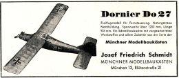 Original-Werbung/ Anzeige 1959 - DORNIER DO 27 /MÜNCHNER MODELLBAUKÄSTEN JOSEF FRIEDRICH SCHMIDT-MÜNCHEN- Ca.120 X 55 Mm - Publicités