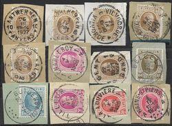 _6R-460:  Restje Van 12 Zegels Op Fragment:  Diverse: O.a.  Wat Stempels.... ..om Verder Uit Te Zoeken.. - 1922-1927 Houyoux