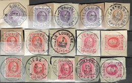 _6R-459:  Restje Van 15 Zegels Op Fragment:  Diverse: O.a.  Wat Stempels.... ..om Verder Uit Te Zoeken.. - 1922-1927 Houyoux