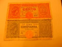 ITALY - ITALIA BANKNOTE 50 + 100 LIRE 1944 - 100 Lire