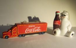 Coca-Cola Kerstboomversiering - Truck + IJsbeer - In Porcelein - Coca-Cola