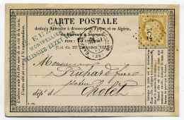 Carte Précurseur CPO :  T17 GARE DE MONTPELLIER + Losange 7C 2° / Dept  33 Herault / 1875 - 1849-1876: Classic Period