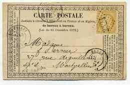 Carte Précurseur CPO :  T17 RODEZ + Losange GC2524 / Dept  11 Aveyron  / 1873 - 1849-1876: Classic Period