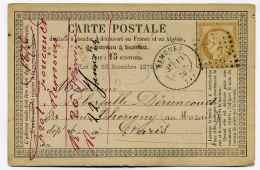 Carte Précurseur CPO :  T17 NEMOURS + Losange GC2618 / Dept  73 Seine Et Marne   / 1876 - 1849-1876: Classic Period
