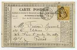 Carte Précurseur CPO : Ambulant BORDEAUX A PARIS 2° Brigade D + Losange BP2° / 1873 - 1849-1876: Classic Period