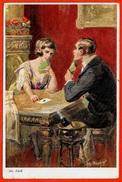 CPA Illustrateur Joh Adolf COUPLE Jouant Aux Cartes * à Jouer - Cartes à Jouer
