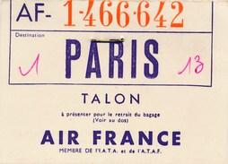 Talon  à Présenter Pour Le Retrait Du Bagage Compagnie AIR FRANCE à Paris ( Recto Verso ) Format 9 X 6,5 Cm - Baggage Labels & Tags