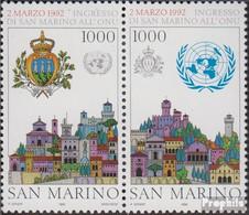 San Marino 1514-1515 Paar (kompl.Ausg.) Postfrisch 1992 UNO Beitritt - Unused Stamps