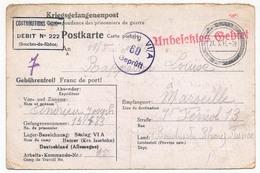 Postkarte Depuis STALAG VI / A (Hemer) - Prisonnier Français - Censeur 60 + Contributions Indirectes 222 B Du R - 1941 - 2. Weltkrieg 1939-1945
