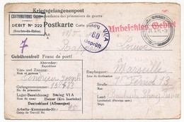 Postkarte Depuis STALAG VI / A (Hemer) - Prisonnier Français - Censeur 60 + Contributions Indirectes 222 B Du R - 1941 - Poststempel (Briefe)
