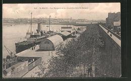 AK Saint-Malo, Les Remparts Et Les Quais, Au Loin St. Servan - Bateaux