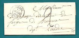 Gers - Nogaro Pour Les Forges De Brocas. CàD Type 12 + Taxe Tampon 2. Au Verso, Cursive 39/Garcin - Marcophilie (Lettres)