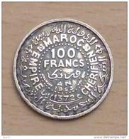 MAROC 100 FRANCS 1953 AH 1372 EN ARGENT - Maroc