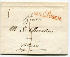 HAUT RHIN De MULHOUSE LAC Du 08/06/1820 Avec Linéaire Rouge 44x11 Taxée 5 Pour COLMAR - Storia Postale