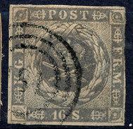Stamp  Denmark 1854 16s Used - 1851-63 (Frederik VII)