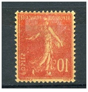 France  -  Variétés  :  Yv  138  *  Impression Recto-verso - Curiosities: 1900-20 Mint/hinged