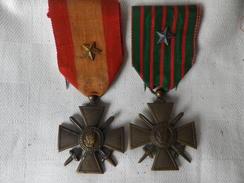 2-medailles-croix-de-guerre-1914-18-et-TOE-avec-etoile - Frankreich