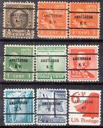 USA Precancel Vorausentwertungen Preo, Bureau New York, Amsterdam 9 Diff. Bureaus - United States