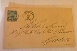 1865 REGNO C.20 FERRO CAVALLO I Tipo Busta Da Perugia A Spoleto DOPPIO CERCHIO - Storia Postale