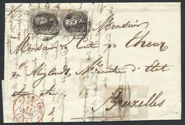 L  Affr. N°6 En Paire Grandes Marges P69 OVERPELT/1856 Pour Bruxelles - 1851-1857 Medaillons (6/8)