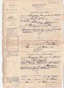 """1917- HOPITAL MIXTE DU  HAVRE- Certicicat De Visite Et Contre-visite  """"anémie Due A Une Bronchite Suspecte """"'  Voir Scan - 1914-18"""