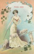BONNE ANNÉE - Femme Dressant Des Cochons.(carte Gaufrée) - Cochons