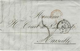 1860- Lettre De MILANO  Pour Marseille  Taxe 5 D.  Entrée SARDAIGNE-CULOZ A. C. / B  Rouge - Lombardo-Vénétie