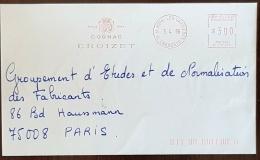 """FRANCE Vigne Et Vin, Alcool. Meme Les Carrieres  EMA Rouge """" COGNAC CROIZET """"1996 ( Empreinte Mecanique) - Vins & Alcools"""