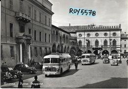 Emilia Romagna-ravenna Citta Piazza Maggiore Veduta Partenza Auto Corriera D'epoca Varie Automobili Animatissima Anni 50 - Ravenna