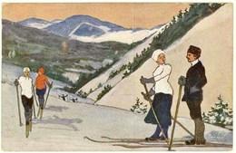 AK Kunstkarte Malerei Ski Berge Sport Karte Gelaufen    (2945 - Postales