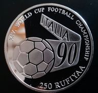 """MALDIVES 250 RUFIYAA 1990 SILVER PROOF """"World Football Championship"""" Free Shipping Via Registered Air Mail - Maldives"""