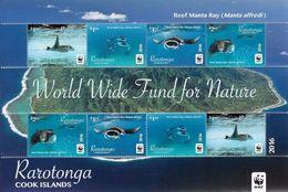 Rarotonga 2016 - Faune En Danger, Wwf, Raie Manta - Feuillet Neufs // Mnh - Unused Stamps