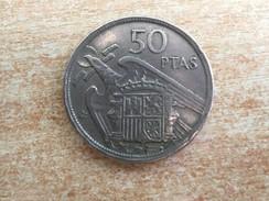 1957 (58) Spain Espana 50 Pesetas Coin,  UNA GRANDE LIBRE On Edge - VF/Ex Very Fine, Ex Fine - 50 Pesetas