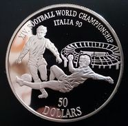 """COOK ISLANDS 50 DOLLARS 1990 SILVER PROOF """"World Cup Soccer"""" (free Shipping Via Registered Air Mail) - Cook Islands"""