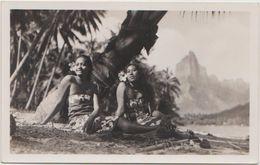 CPA PHOTO TAHITI Deux Vahinés Sous Les Cocotiers Rare - Tahiti
