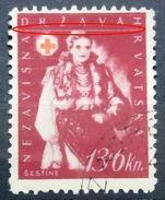 RED CROSS-13+6 K-NATIONAL COSTUMES-ŠESTINE-ERROR-LINE-RARE-NDH-CROATIA-1942 - Croatia