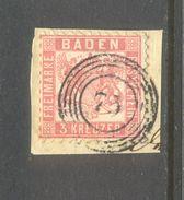 Germay Baden : 3 Kreuzer With Numbercancel 73 - Bade