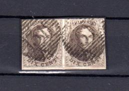 1858  10c Médaillon,  N° 10 En Paire Avec Voisin Dans Le Bas, Cote 38 €, - 1858-1862 Médaillons (9/12)